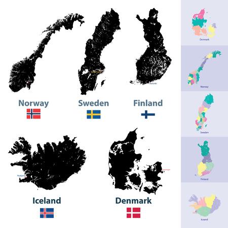 Mappe dei paesi scandinavi Archivio Fotografico - 84211212
