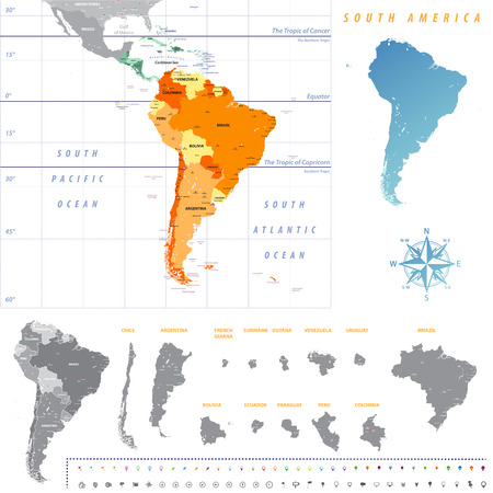 South America map with each country map separately isolated on white background. All layers detached and labeled. Vector