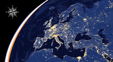 Illustration of Europe city lights Illustration