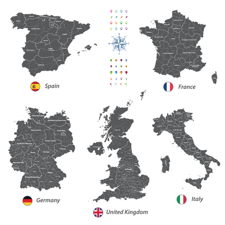 Vector maps of United Kingdom, Italy, Germany, France and Spain with administrative divisions. All layers detachable and labeled.