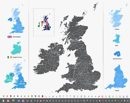 Carte vectorielle des îles britanniques avec des divisions administratives Vecteurs