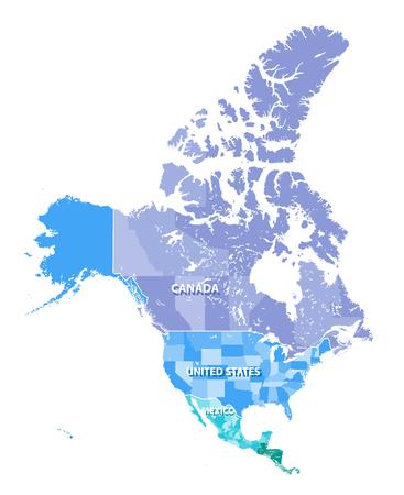 北アメリカ, カナダ, 米国, メキシコ合衆国国境とベクトル マップの高解像度。戸建の層で区切られたすべての要素
