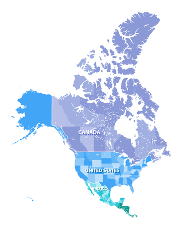 북미 캐나다, 미국, 멕시코의 상태 테두리와 고해상도 벡터지도. 분리 된 레이어로 분리 된 모든 요소