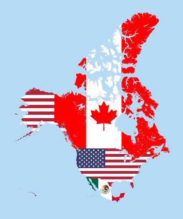깃발과 결합 된 캐나다, 미국 및 멕시코지도