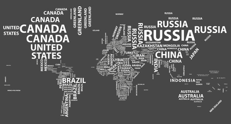 Vector world map with country names in typography