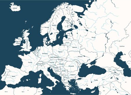 High detailed map of Europe