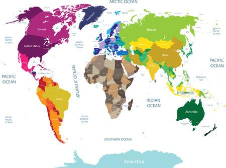高詳細な世界地図ベクター イラスト。 写真素材 - 84213010