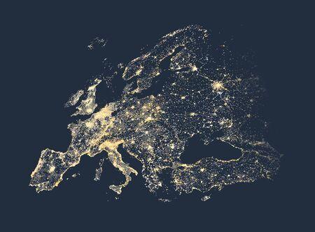 Illustratie van de stadslichten van Europa