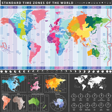 Map of standard time zones of the world with continents