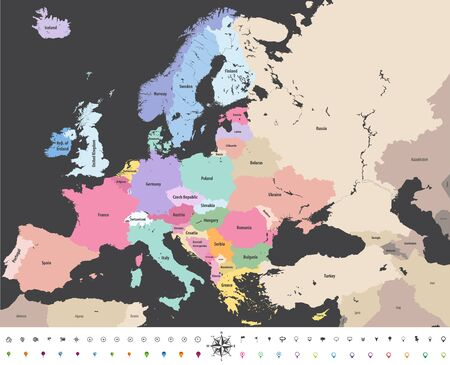 Europe high detailed political map illustration.