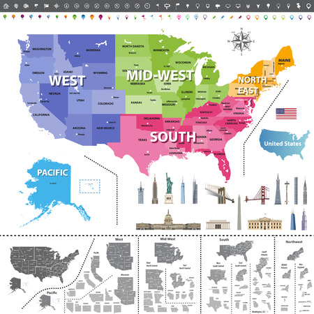 United States of America. Navigation, location icons; Flag and landmarks of United States. All elements are separated in detachable and labeled layers. Vector
