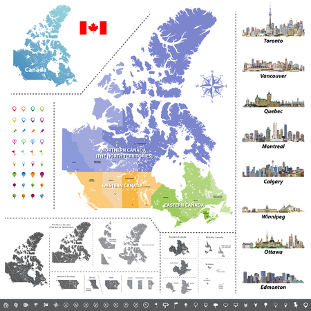 Canadian provinces and territories. Map, flag and largest city skylines of Canada. Vector illustration