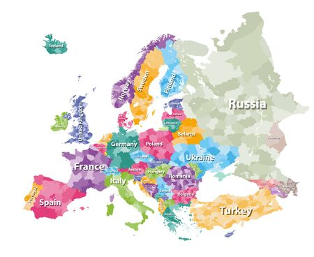 Colored political map of Europe with countries' regions. Vector illustration