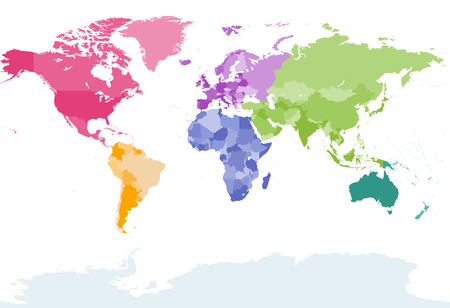 oceania: World map colored by continents