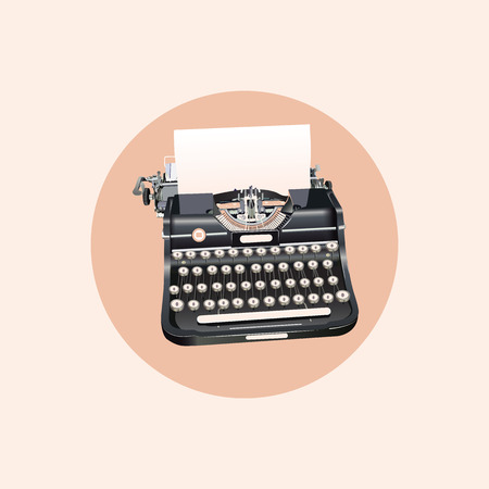 Illustration vectorielle de l'ancienne machine à écrire isolé Banque d'images - 86051319