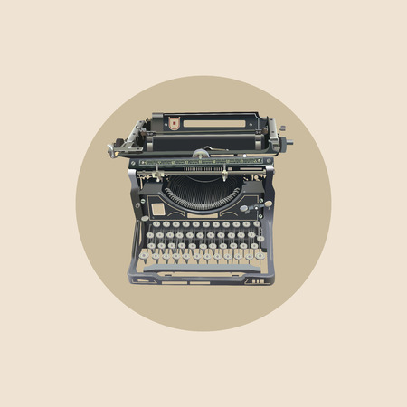 type writer: vector illustration of old style isolated typewriter