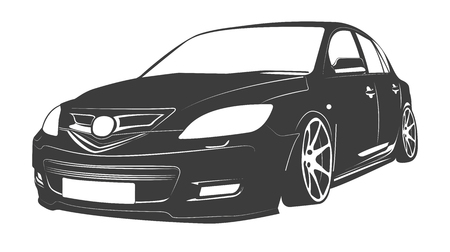 vector illustration of an isolated passenger car Illusztráció