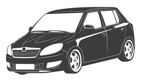 vector illustration of an isolated passenger car Illustration