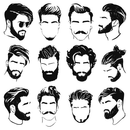 vector illustration of men hairstyle silhouettes Иллюстрация