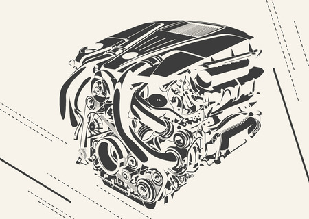 car isolated: High detailed illustration of abstract engine.