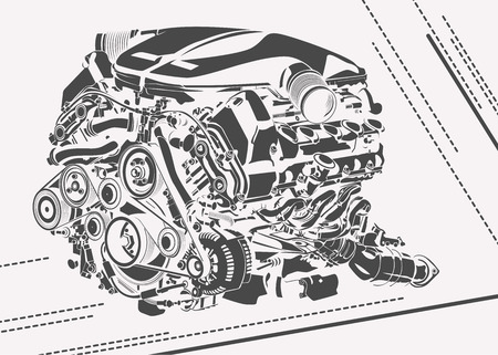 High detailed illustration of abstract engine.