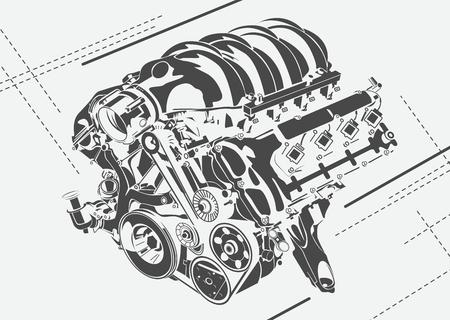 抽象的なエンジンの高詳細なイラスト。