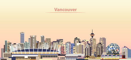 밴쿠버 도시의 스카이 라인 일출 아이콘에.