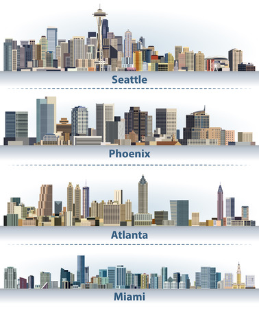 vector collection of the United States city skylines: Seattle, Phoenix, Atlanta and Miami