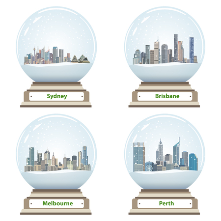 Collection of snow globes with city skylines icon. Vektorové ilustrace