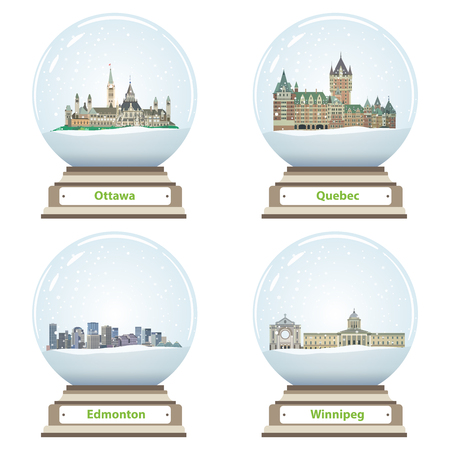 vector collection of snow globes with canadian city skylines Illustration