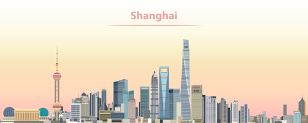 Vector illustration of Shanghai city skyline at sunrise