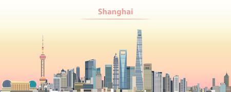 Vectorillustratie van de stadshorizon van Shanghai bij zonsopgang Stock Illustratie