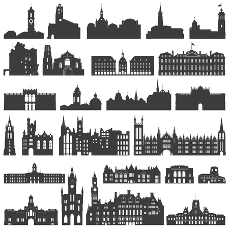 vector collection of isolated palaces, temples, churches, cathedrals, castles, city halls, edifices, ancient buildings and other architectural monuments silhouettes