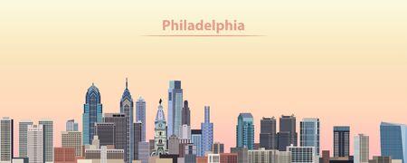 Vector illustration of Philadelphia city skyline at sunrise
