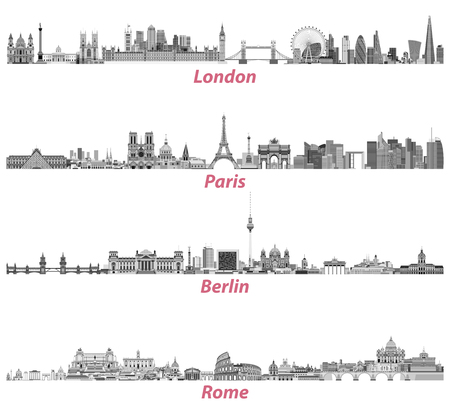 London, Paris, Berlin and Rome city skylines in black and white color palette isolated on white background. Vector illustration