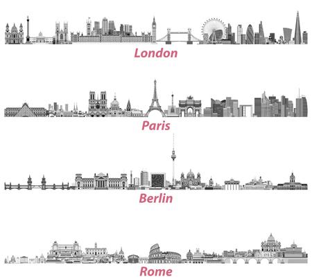 Skylines miasta Londyn, Paryż, Berlin i Rzym w czarno-białej palecie kolorów na białym tle. Ilustracji wektorowych
