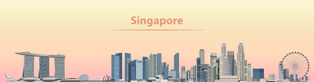 illustrazione vettoriale di skyline della città di Singapore al sorgere del sole