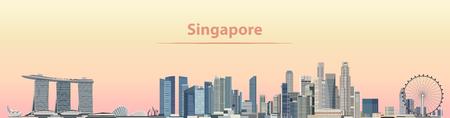 vectorillustratie van de stadshorizon van Singapore bij zonsopgang Stock Illustratie