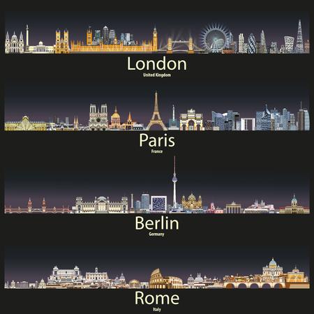De skylines van Londen, Parijs, Berlijn en Rome