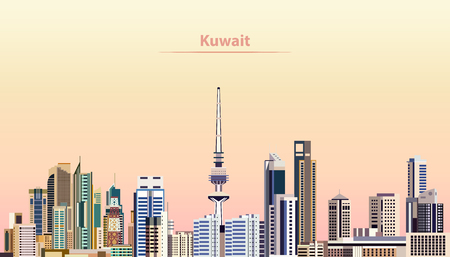 vector illustration of Kuwait city skyline at sunrise