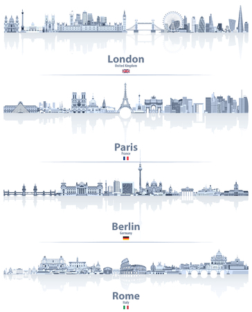 vector illustrations of London, Paris, Berlin and Rome city skylines