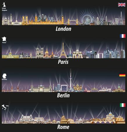 明るい街の明かりで夜のロンドン、パリ、ベルリン、ローマのスカイラインのベクトル イラスト。