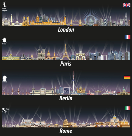 vector illustration of London, Paris, Berlin and Rome skylines at night with bright city lights. Illustration