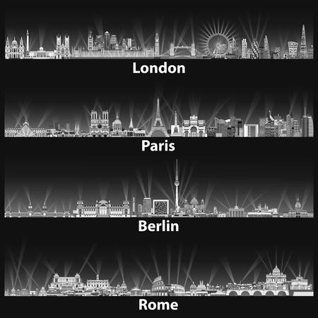 夜の黒と白のカラー パレットでロンドン、パリ、ベルリン、ローマ都市のスカイラインのベクトル イラスト