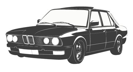 Illustration of a black classic car design print.