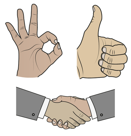 Illustration of a hands gestures clip-art design print.