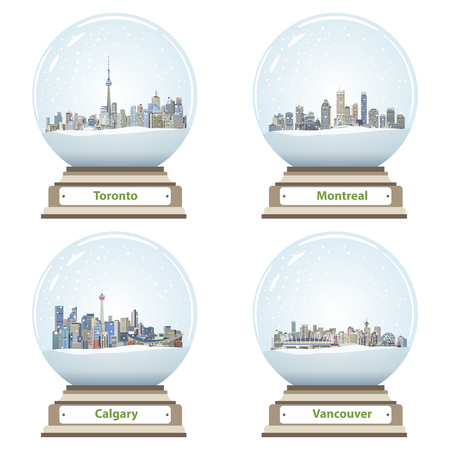 Collection of snow globes with Canadian city skylines Illustration