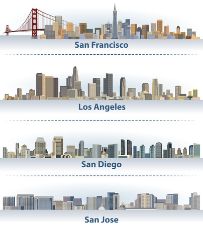 Collection of the United States city skylines Ilustrace