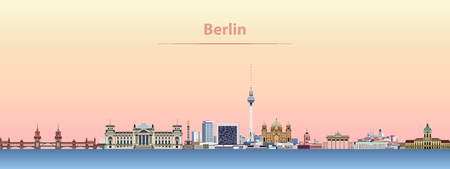 Berlin city skyline at sunrise.  イラスト・ベクター素材
