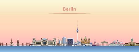 Berlin city skyline at sunrise. Illustration